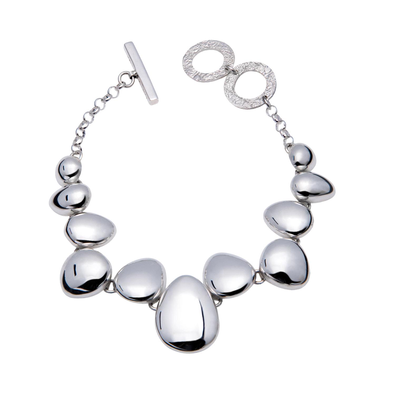 Contemporary Silver Bracelet Polished Pebble