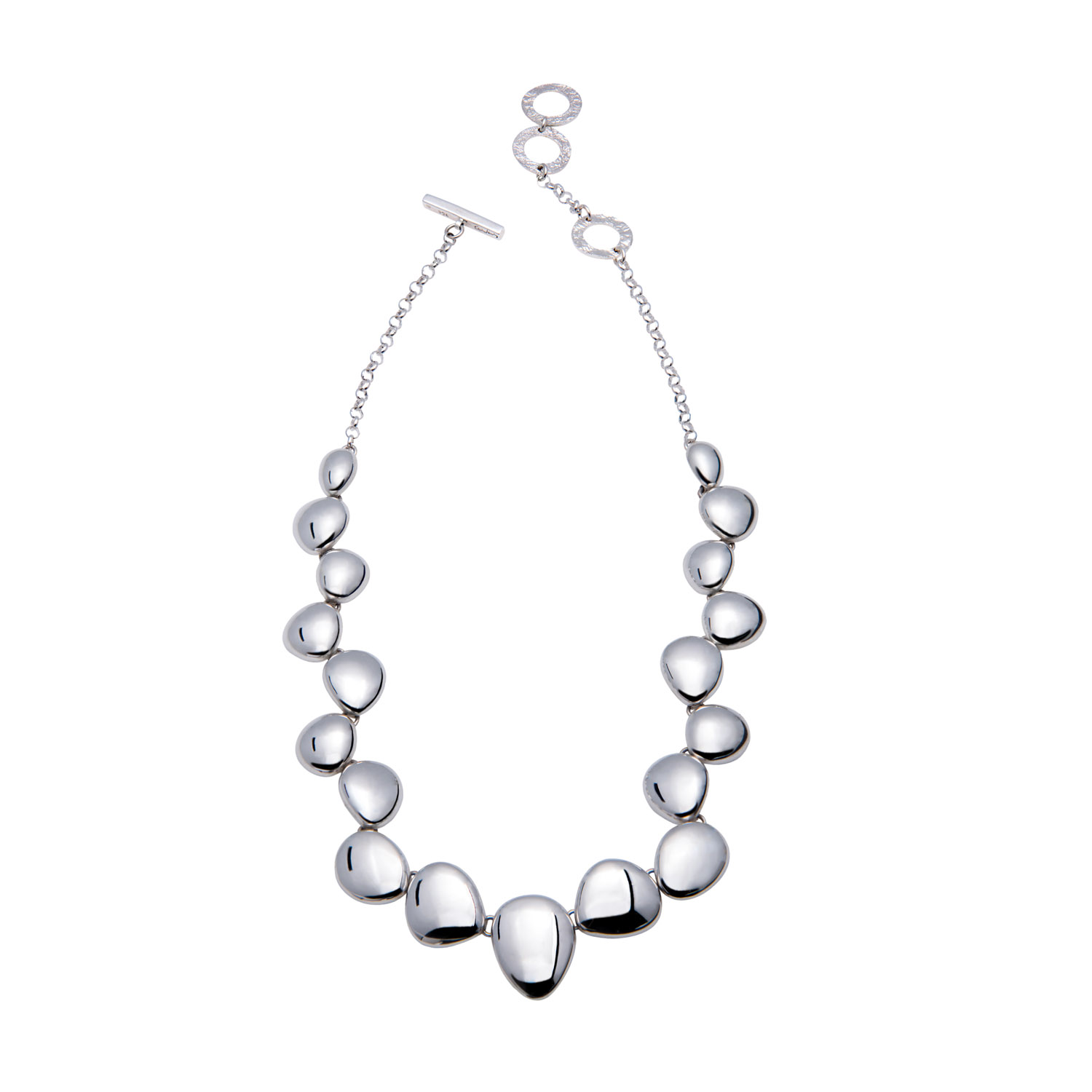 Contemporary Silver Necklace Polished Pebble