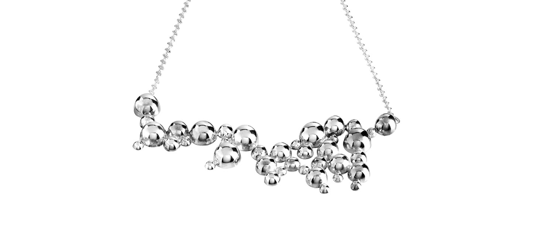 Contemporary Silver Necklace Winter Rain